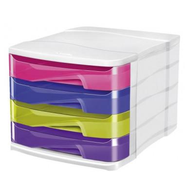 Schubladenbox Ellypse weiß/bunt 4 Schubladen geschlossen