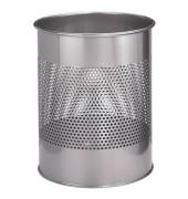 Stahlpapierkorb 15 Liter silber 20 Reihen perf.