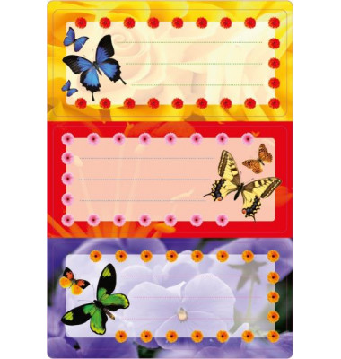 Schuletiketten Schmetterlinge