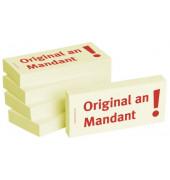 """bedruckte Haftnotizen """"Original an Mandant"""""""