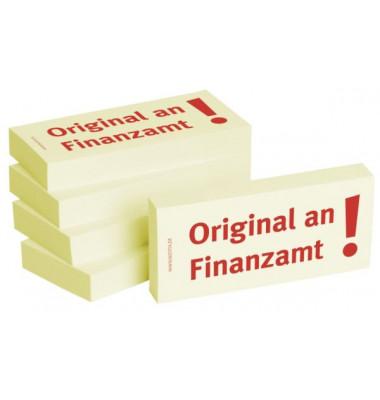 """bedruckte Haftnotizen """"Original an Finanzamt"""""""