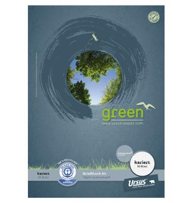 Briefblock Green A4 weiß kariert 50 Blatt