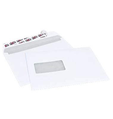 Versandtaschen C5 mit Fenster haftklebend 90g weiß 250 Stück Öffnung an der langen Seite