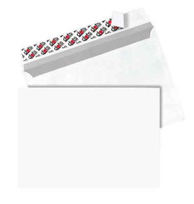 Versandtaschen C5 ohne Fenster haftklebend 90g weiß 250 Stück Öffnung an der langen Seite