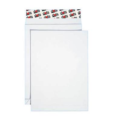 Faltentaschen B4 ohne Fenster 20mm Falte haftklebend 130g weiß 50 Stück