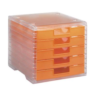 Schubladenbox Lightbox 275-8419.424transparent/mandarine 5 Schubladen geschlossen