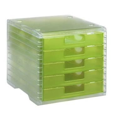 Schubladenbox Lightbox 275-8419.524 transparent/kiwi-transparent 5 Schubladen geschlossen