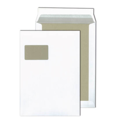 Versandtaschen C4 mit Fenster und Papprückwand haftklebend 120g weiß 100 Stück