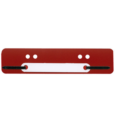 Heftstreifen kurz, 34x150mm, Kunststoff mit Kunststoffdeckleiste, rot, 100 Stück