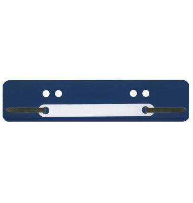 Heftstreifen kurz, 34x150mm, Kunststoff mit Kunststoffdeckleiste, blau, 100 Stück