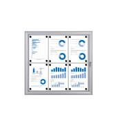 Schaukasten S-Line 6 x A4 Metallrückwand weiß, silber magnetisch