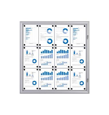 Schaukasten S-Line 12 x A4 Metallrückwand weiß, silber magnetisch