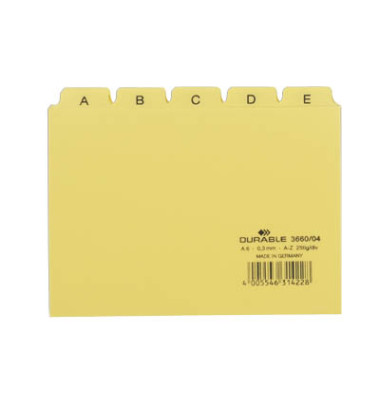 Karteileitregister A-Z gelb A6 quer