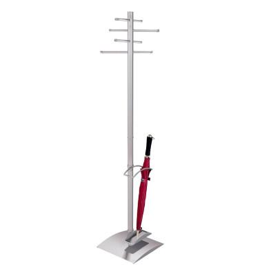 Garderobenständer Ästhet 6211, mit 8 Haken, mit Schirmständer, Metall, silber