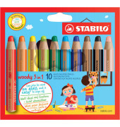 Farbstift Woody 10er Etui sort