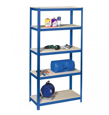 Steckregal 90,0 x 30,0 x 180,0 cm blau 5 Fachböden