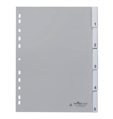 Kunststoffregister 6440-10 blanko A4 0,12mm graue Fenstertabe zum wechseln 5-teilig