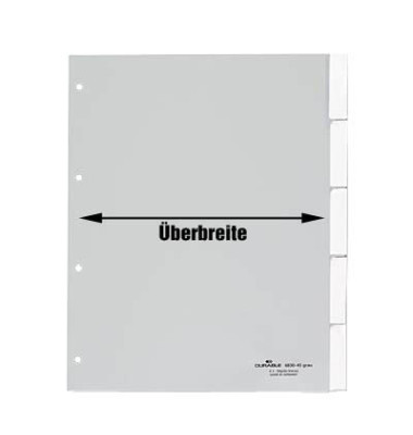 Kunststoffregister 6201-10 blanko A4+ 0,12mm graue Fenstertaben zum wechseln 5-teilig