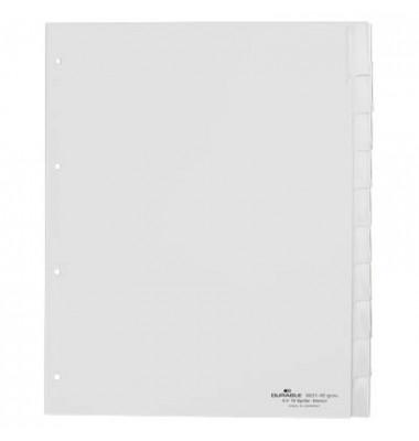 Kunststoffregister 6202-10 blanko A4+ 0,12mm graue Fenstertaben zum wechseln 10-teilig
