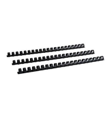 Plastikbinderücken 17140121 schwarz US-Teilung 21 Ringe auf A4 110 Blatt 14mm 100 Stück