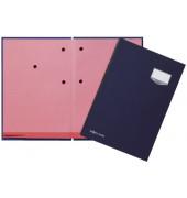 Unterschriftenmappe de Luxe 24201 A4 Leinen blau mit Einsteckschild 20 Fächer