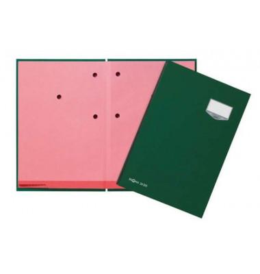 Unterschriftenmappe de Luxe 24201 A4 Leinen grün mit Einsteckschild 20 Fächer