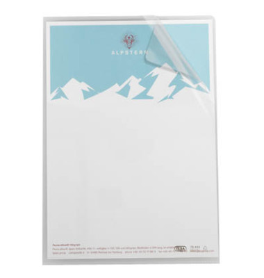 Sichthüllen 100461018, A4, farblos, klar-transparent, glatt, 0,14mm, oben & rechts offen, PVC