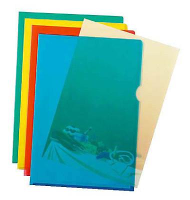 Sichthüllen 2337-00, A4, farbig sortiert, transparent, genarbt, 0,12mm, oben & rechts offen, PP