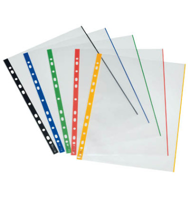 Prospekthüllen 109144 mit farbigen Rändern A4 glasklar glatt 70my oben offen 10 Stück
