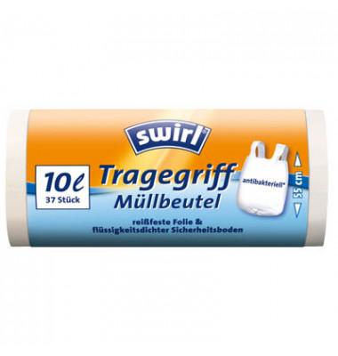 Müllbeutel mit Tragegriff weiß 10,0 l 1 Pack   20 Stück