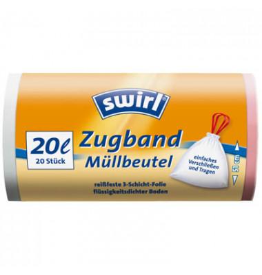 Müllbeutel mit Zugband weiß 20,0 l 1 Pack   20 Stück