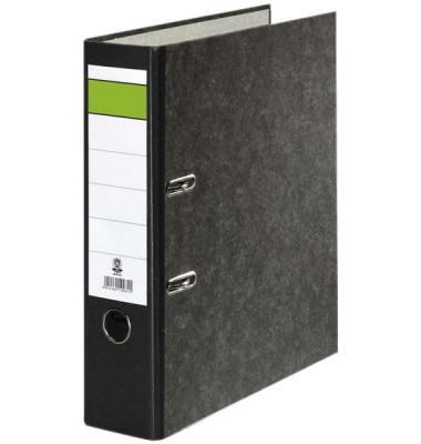 Ordner A4 Wolkenmarmor Rücken schwarz 80mm breit grüner Balken