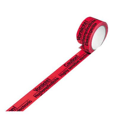 Signalpackband 100336, Vorsicht Elektrogeräte, 50mm x 66m, PVC, leise abrollbar, rot/schwarz