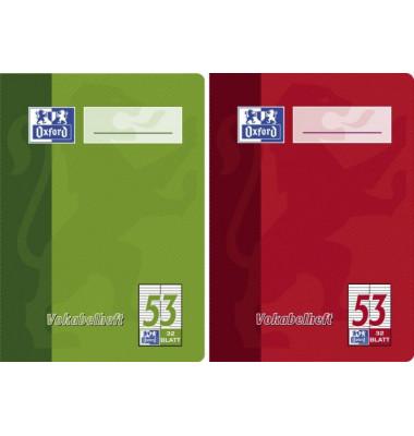 Vokabelheft A6 Lineatur 53 liniert 2 Spalten weiß 32 Blatt