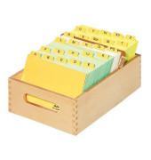 Karteikasten ohne Deckel für A7 buche 126x250x54mm für 900 Karten Holz