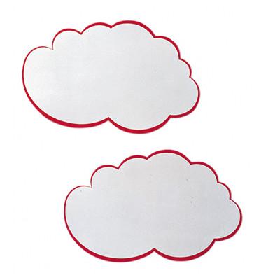 Moderationskarte Wolken mit rotem Rand weiß 23x14cm 20Stück