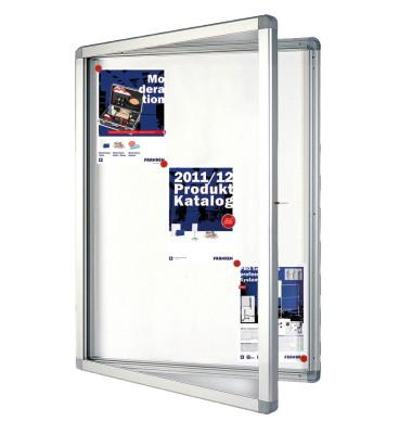 Schaukasten ECO 9 x A4 Metallrückwand weiß, silber magnetisch