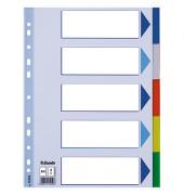Kunststoffregister 15259 blanko A4 0,12mm farbige Taben 5-teilig