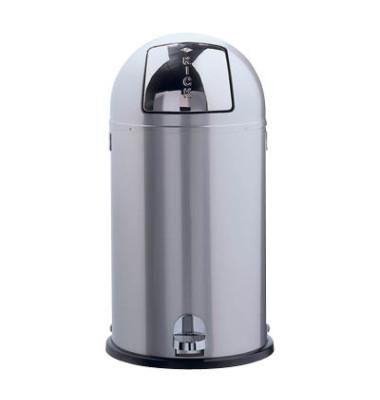 Abfallsammler Kickboy 40 Liter neusilber