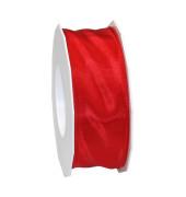 Geschenkband LYON rot gewebtes Lurexband mit Drahtkante