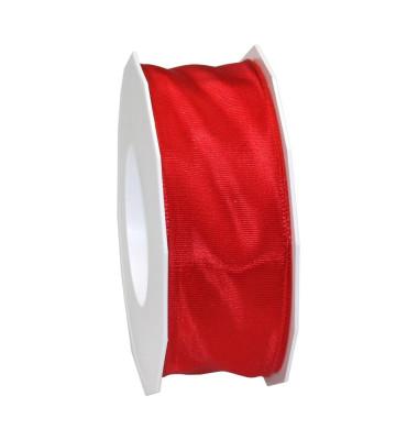Geschenkband Lyon Lurexband mit Drahtkante 40mm x 25m rot
