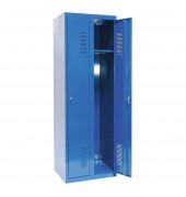 Spind 50322, Metall, 2 Abteile mit 2 Fächern, abschließbar (Schloss separat erhältlich), 60x180cm (BxH), blau