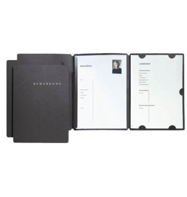 Bewerbungsmappe 22016 Select 3-teilig A4 bis 10 Blatt schwarz 3 Stück