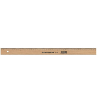 Holzlineal 50 cm m.Stahleinl.unlaki