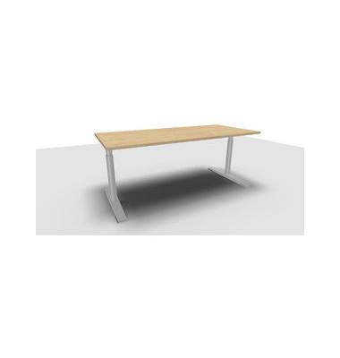 Schreibtisch Jump TN0018-4G2JGW3W3D0D0V0U0M weiß rechteckig 160x80 cm (BxT) manuell höhenverstellbar
