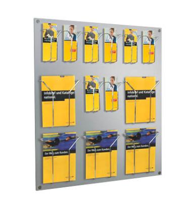 Wandprospekthalter Fokus alusilber für 18 Fächer DIN lang-Formate