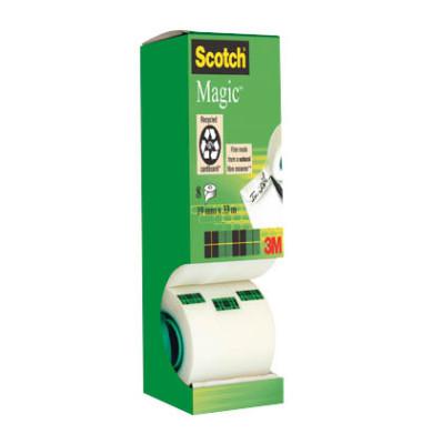 Scotch klebeband magic tape 19mm x 33m unsichtbar 8 rollen for Schreibtisch 1m lang