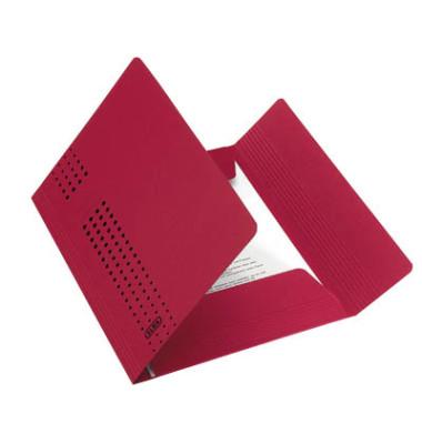 Aktendeckel Chic 100091171 A4 RC-Karton 320g, 3 Klappen, rot