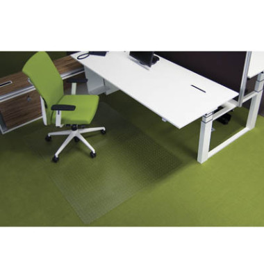 Bodenschutzmatte Ecogrip 120 x 240 cm Form O für Teppichböden transparent Makrolon