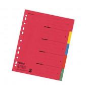 Kartonregister 80002009 blanko A4+ farbige Taben 5-teilig